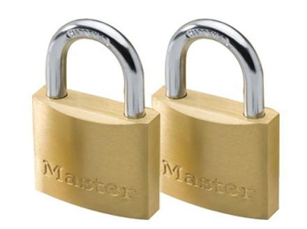 圖片 Master Lock 40MM Hard Steel Shackle, 2 Pieces Key-Alike Brass Padlock, MSP1902T