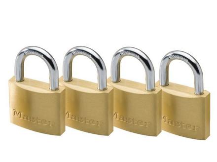 圖片 Master Lock 40MM Hrad Steel Shackle, 4 Pieces Key-Alike Brass Padlock, MSP1902Q