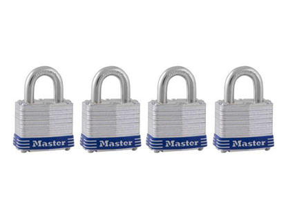 Picture of Master Lock 40MM 19MM Shackle, 4 Pieces Key-Alike Laminated Steel Padlock, MSP3008D