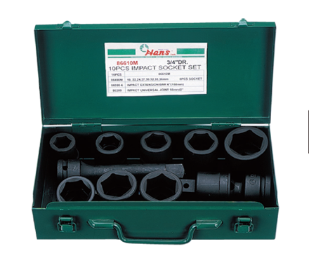 圖片 Hans 10 Pcs. Impact Socket Set - MODEL NO. 86610AA - Inches Size
