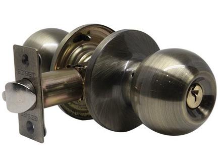 图片 Ezset Bala Gr.3 Antique Brass Entrance Tubular Knobset EZ100TBAUS5