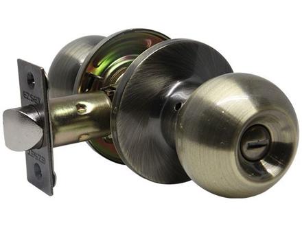 图片 Ezset Gr.3 Antique Brass Tubular Privacy Knobset EZ102TBAUS5
