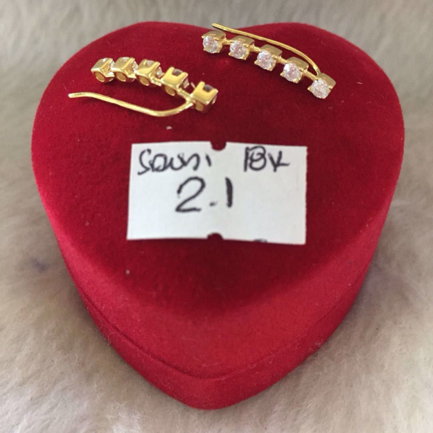 圖片 18K - Saudi Gold Jewelry, Earrings - 2.1g