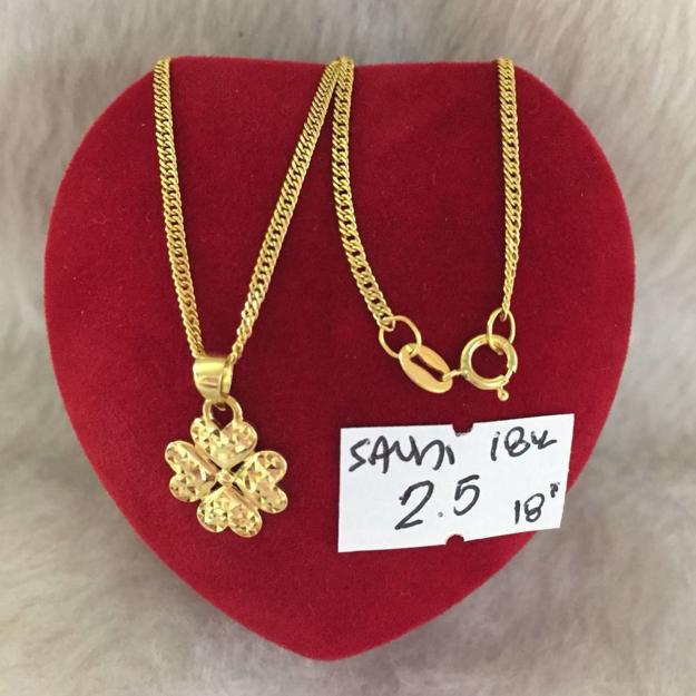圖片 18K - Saudi Gold Jewelry, Necklace w/.. Pendant (4Heart  Shape) 18K - 2.5g