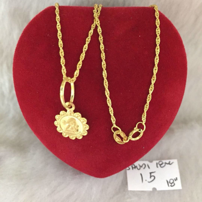 Picture of 18K - Saudi Gold Jewelry, Necklace w/. Pendant 18K - 1.5g