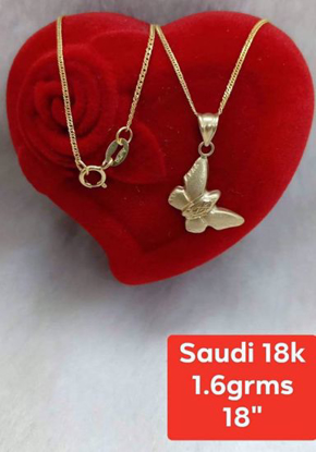 Picture of 18K - Saudi Gold Jewelry, Necklace w/.. Pendant (Butterfly Shape) 18K - 1.6g