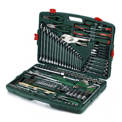 """Picture of Hans Tools TK-158V Heavy Duty 158 pcs 1/4"""" & 1/2"""" Drive Socket Wrench with Assorted Tools Kit (Silver)"""