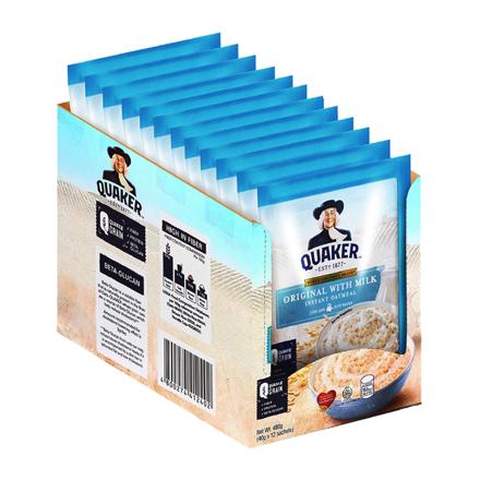 图片 Quaker Flavored Oatmeal Original with Milk 40g (Pack of 12)