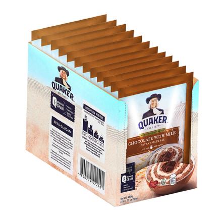 图片 Quaker Flavored Oatmeal Chocolate with Milk 40g (Pack of 12)