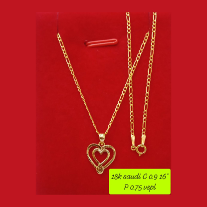 """Picture of 18K - Saudi Gold Necklace with Pendant C 0.9g P 0.75g (16"""") - SC09GP075G"""