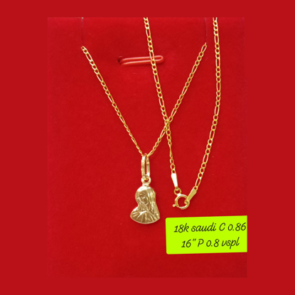 """Picture of 18K - Saudi Gold Necklace with Pendant C 0.86g P 0.8g (16"""") - SC086GP08G"""