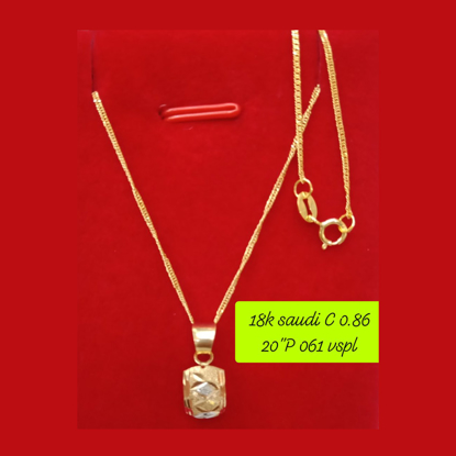 """Picture of 18K - Saudi Gold Necklace with Pendant C 0.86g P 0.61g (20"""") - SC086GP061G"""