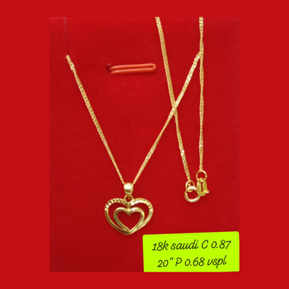 """Picture of 18K - Saudi Gold Necklace with Pendant C 0.87g P 0.68g (20"""") - SC087GP068G"""