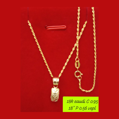 """Picture of 18K - Saudi Gold Necklace with Pendant C 0.95g P 0.56g (18"""") - SC095GP056G"""