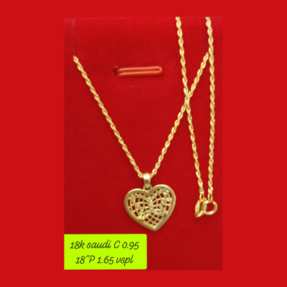 """Picture of 18K - Saudi Gold Necklace with Pendant C 0.95g P 1.65g (18"""") - SC095GP165G"""