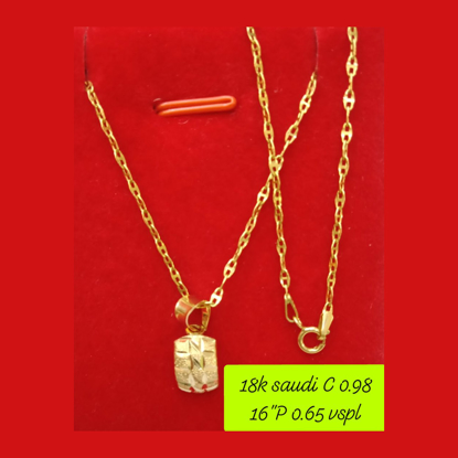 """Picture of 18K - Saudi Gold Necklace with Pendant C 0.98g P 0.65g (16"""") - SC098GP065G"""