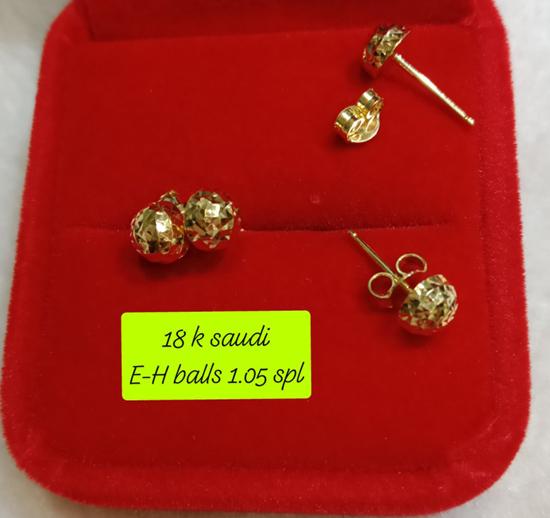 Picture of 18K Saudi Gold Earrings, 1.05g, 207EHBALLS105