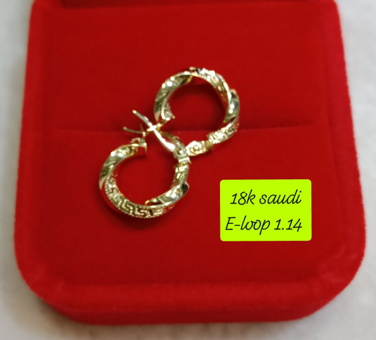 Picture of 18K Saudi Gold Earrings, 1.14g, 207ELOOP114