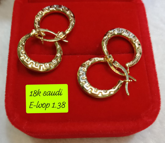 Picture of 18K Saudi Gold Earrings, 1.38g, 207ELOOP138