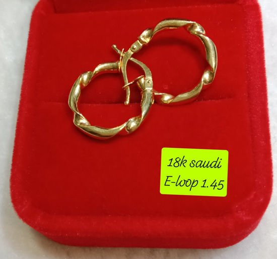Picture of 18K Saudi Gold Earrings, 1.45g, 207ELOOP145