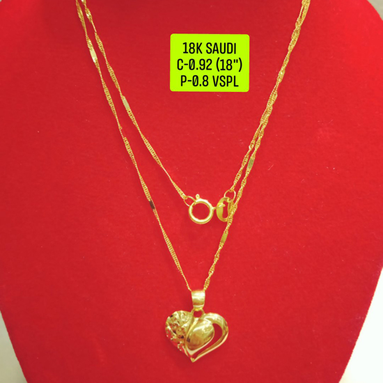 "Picture of 18K Saudi Gold Necklace with Pendant, Chain 0.92g, Pendant 0.8g, Size 18"", 20723N09208"