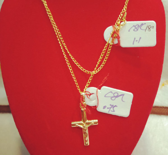 "Picture of 18K Saudi Gold Necklace with Pendant, Chain 1.1g, Pendant 0.75g, Size 18"", 20723N11075"