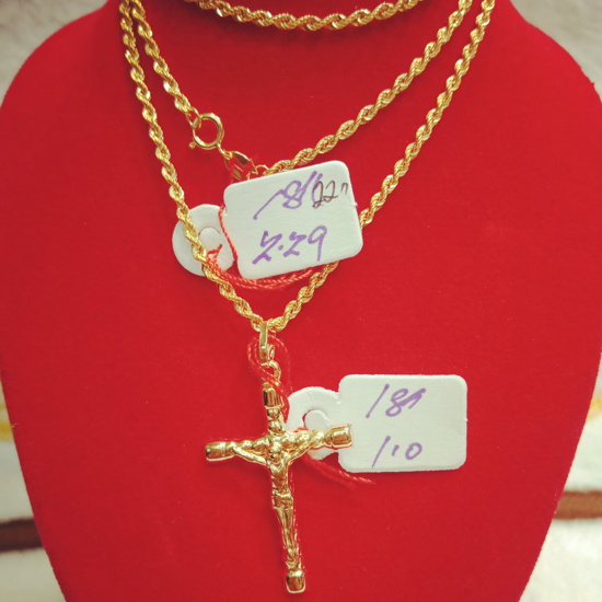 """Picture of 18K Saudi Gold Necklace with Pendant, Chain 2.29g, Pendant 1.0g, Size 22"""", 20723N22910"""