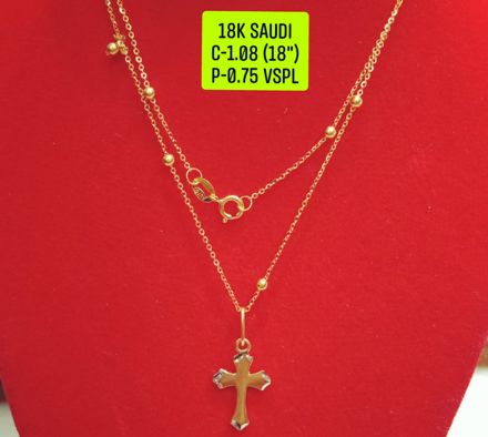 "图片 18K Saudi Gold Necklace with Pendant, Chain 1.08g, Pendant 0.75g, Size 18"", 20723N108075"