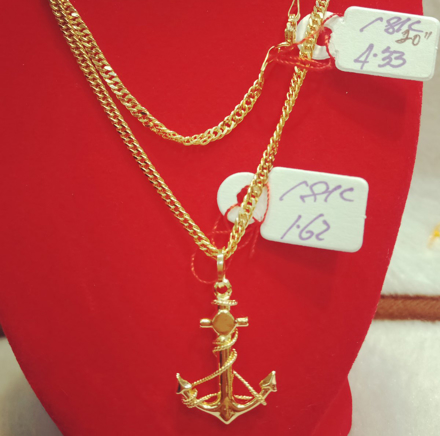 "图片 18K Saudi Gold Necklace with Pendant, Chain 4.43g, Pendant 1.62g, Size 20"", 20723N433162"