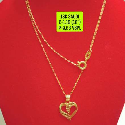 "图片 18K Saudi Gold Necklace with Pendant, Chain 1.15g, Pendant 0.63g, Size 18"", 20723N115063"