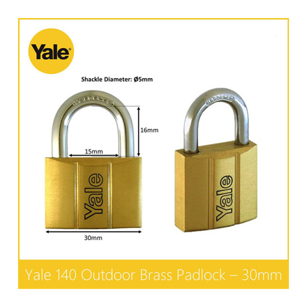 圖片 Yale V140.30 KA2, Standard Shackle Brass Padlocks 140 Series Key Alike 2, V14030KA2