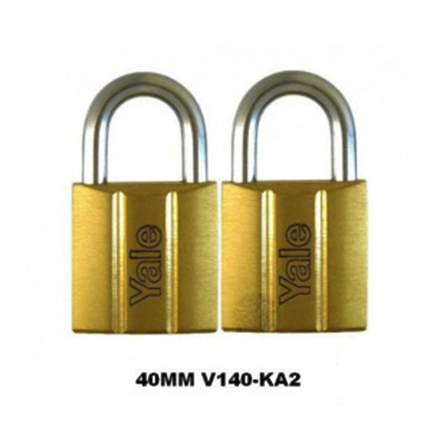 圖片 Yale V140.40 KA2, Standard Shackle Brass Padlocks 140 Series Key Alike 2, V14040KA2