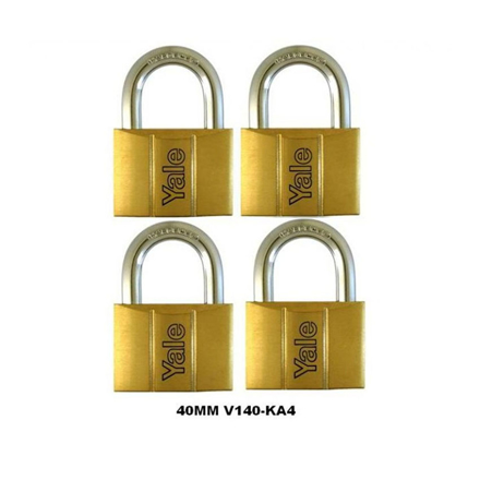 圖片 Yale V140.40 KA4, Standard Shackle Brass Padlocks 140 Series Key Alike 4, V14040KA4