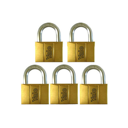圖片 Yale V140.60 KA5, Standard Shackle Brass Padlocks 140 Series Key Alike 5, V14060KA5
