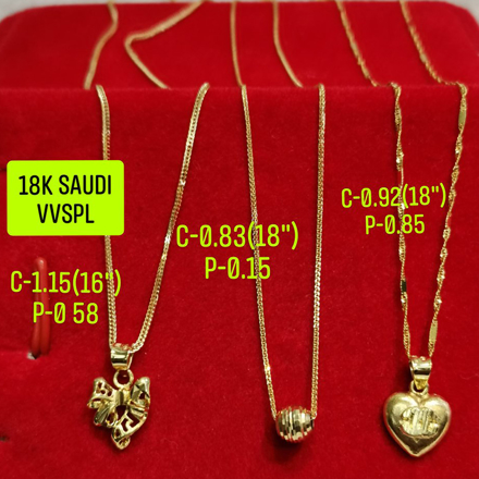 "图片 18K Saudi Gold Necklace with Pendant, Chain 0.83g, Pendant 0.15g, Size 18"", 2805N3"
