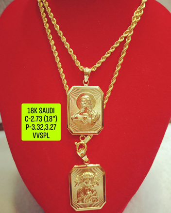 "图片 18K Saudi Gold Necklace with Pendant, Chain 2.73g, Pendant 3.27g, 3.32g, Size 18"", 2805N27"