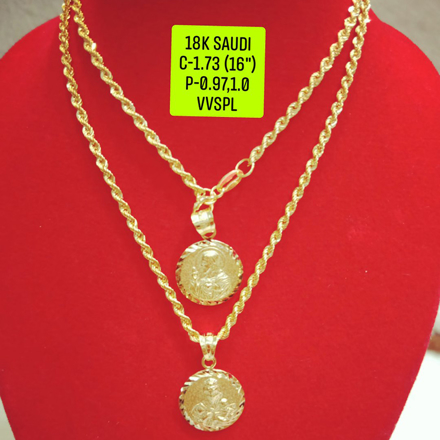 "图片 18K Saudi Gold Necklace with Pendant, Chain 1.73g, Pendant 0.97g, 1.0g, Size 16"", 2805N173"