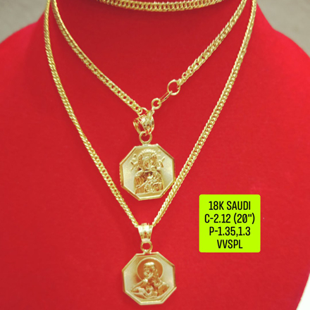 "图片 18K Saudi Gold Necklace with Pendant, Chain 2.73g, Pendant 3.27g, 3.32g, Size 18"", 2805N27 - copy"