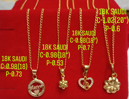"图片 18K Saudi Gold Necklace with Pendant, Chain 0.98g, Pendant 0.53g, Size 18"", 2805N4"