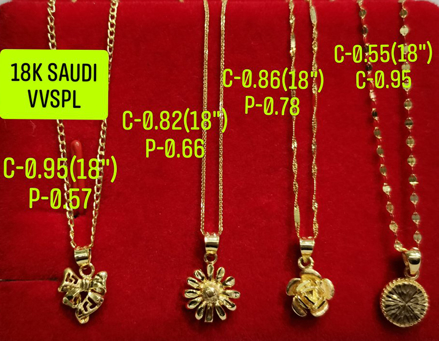 "图片 18K Saudi Gold Necklace with Pendant, Chain 0.82g, Pendant 0.66g, Size 18"", 2805N4F"