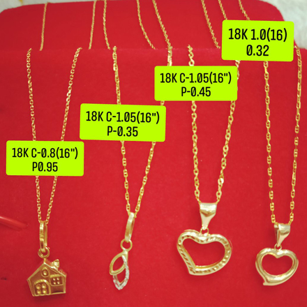 "图片 18K Saudi Gold Necklace with Pendant, Chain 1.0g, Pendant 0.32g, Size 16"", 2805N4H"