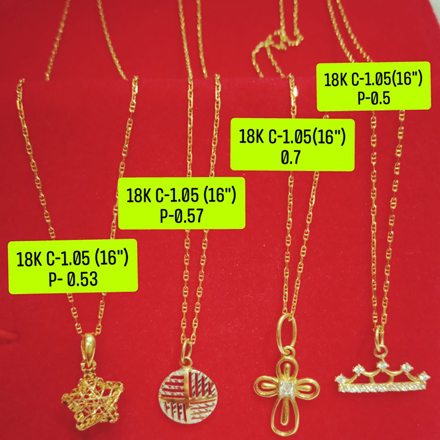 "图片 18K Saudi Gold Necklace with Pendant, Chain 1.05g, Pendant 0.5g, Size 16"", 2805N4S1"