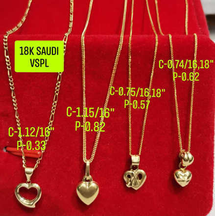 "图片 18K Saudi Gold Necklace with Pendant, Chain 0.75g, Pendant 0.57g, Size 18"", 2805NH"
