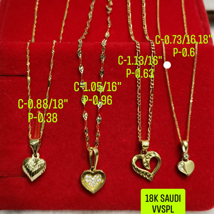 "图片 18K Saudi Gold, Necklace with Pendant, Chain 0.88g, Pendant 0.38g, Size 18"", 2805NH2"