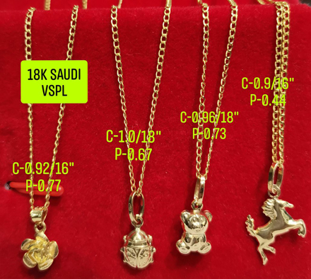 "图片 18K Saudi Gold Necklace with Pendant, Chain 0.9g, Pendant 0.44g, Size 16"", 2805NFBBH"