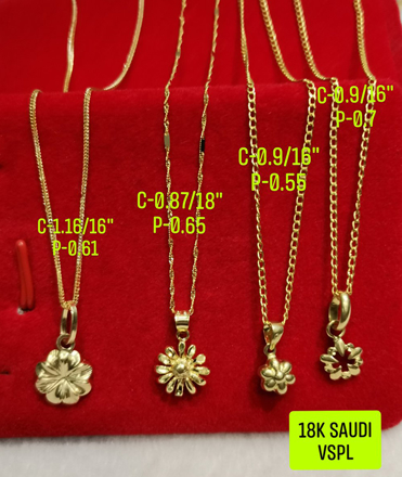 "图片 18K Saudi Gold Necklace with Pendant, Chain 0.9g, Pendant 0.55g, Size 16"", 2805NFF"