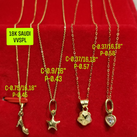 "图片 18K Saudi Gold Necklace with Pendant, Chain 0.37g, Pendant 0.57g, Size 16"", 18"", 2805NCS"