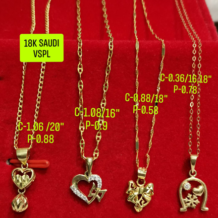 "图片 18K Saudi Gold Necklace with Pendant, Chain 0.36g, Pendant 0.78g, Size 16"", 18"", 2805NHHRH"