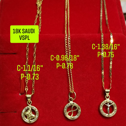 "图片 18K Saudi Gold Necklace with Pendant, Chain 0.96g, Pendant 0.78g, Size 18"", 2805UP"