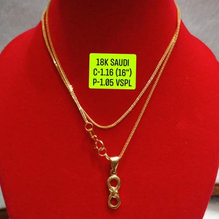 """圖片 18K Saudi Gold Necklace with Pendant, Chain 1.16g, Pendant 1.05g, Size 16"""", 2805N116"""